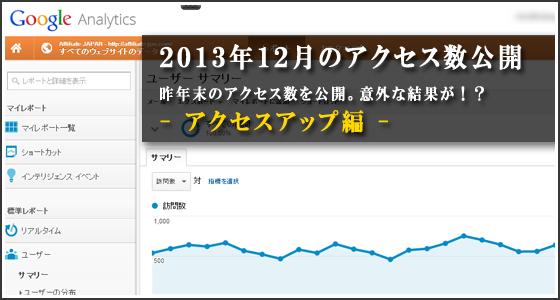 【2013年12月】賢威で集めたアクセス数公開。(※アフィリエイトJAPAN会員限定記事)