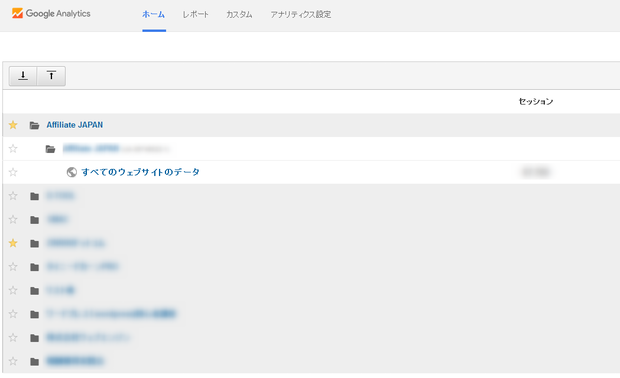 Google analyticsのホーム画面