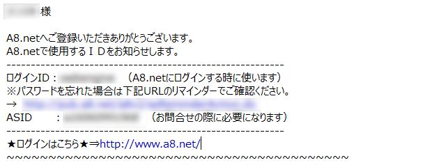 A8.net登録完了メール