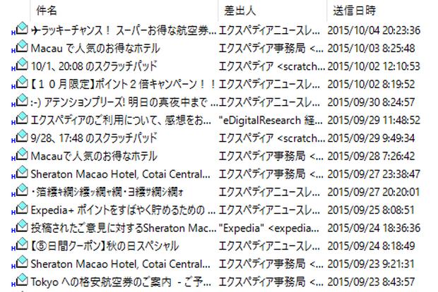 Expediaのメールマガジン