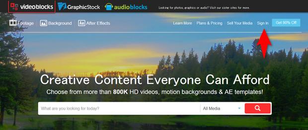 Videoblocksトップページ