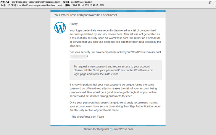 Your WordPress.com password has been reset